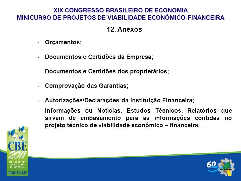 XIX CONGRESSO BRASILEIRO DE ECONOMIA MINICURSO DE PROJETOS DE VIABILIDADE ECONÔMICO-FINANCEIRA 12. Anexos -Orçamentos; -Documentos e Certidões da Empr