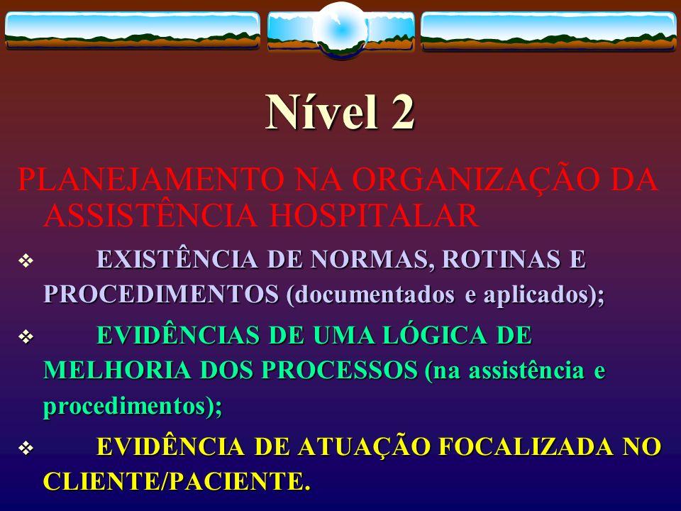 Nível 2 PLANEJAMENTO NA ORGANIZAÇÃO DA ASSISTÊNCIA HOSPITALAR EXISTÊNCIA DE NORMAS, ROTINAS E PROCEDIMENTOS (documentados e aplicados); EVIDÊNCIAS DE