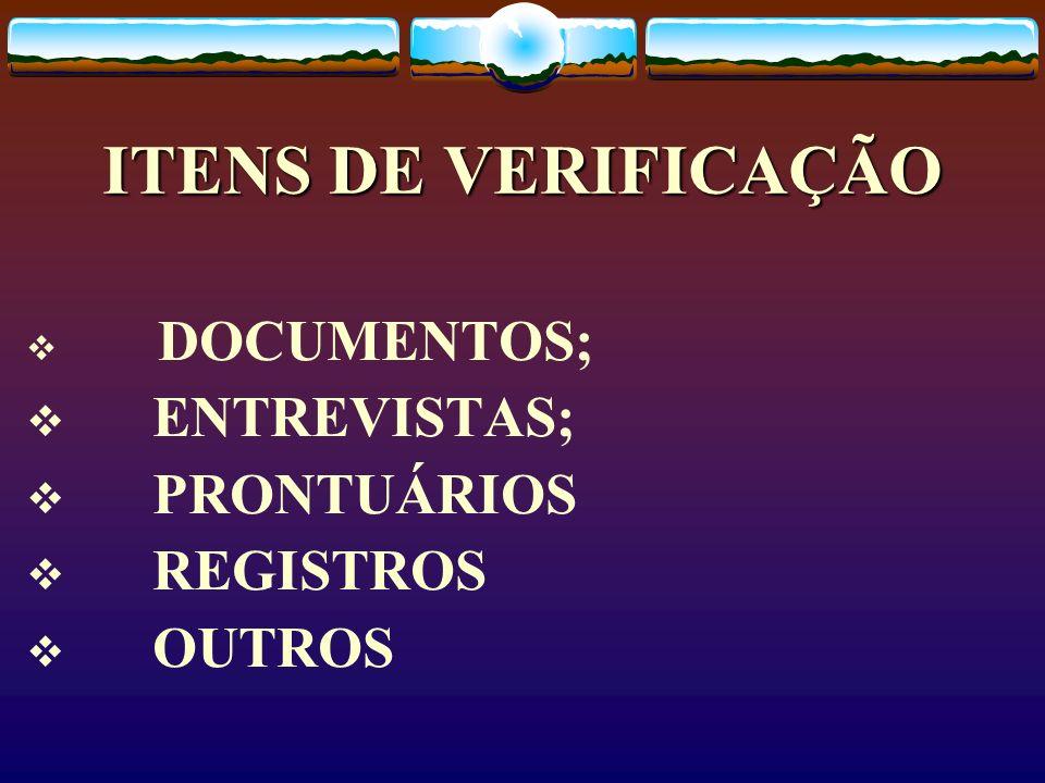 ITENS DE VERIFICAÇÃO DOCUMENTOS; ENTREVISTAS; PRONTUÁRIOS REGISTROS OUTROS