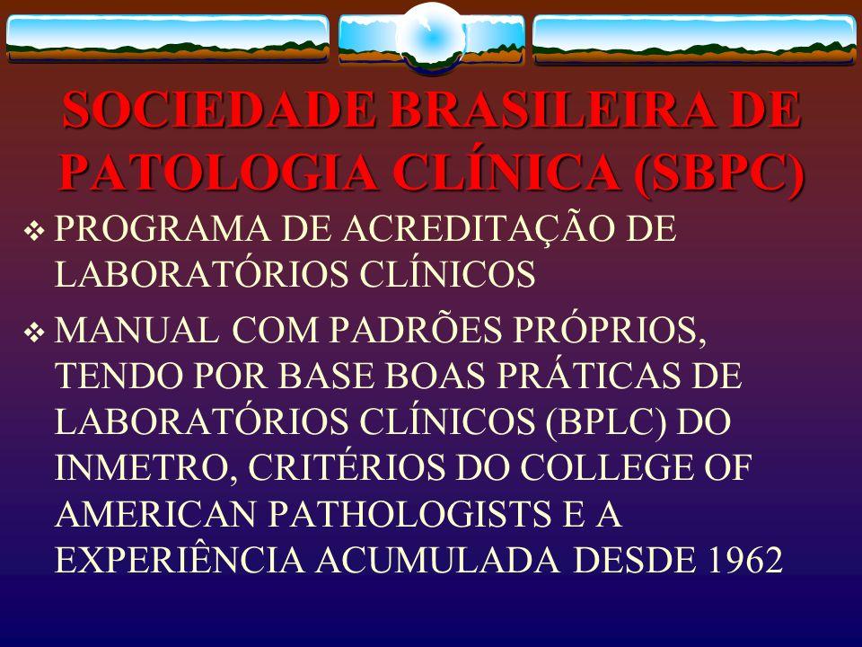 SOCIEDADE BRASILEIRA DE PATOLOGIA CLÍNICA (SBPC) PROGRAMA DE ACREDITAÇÃO DE LABORATÓRIOS CLÍNICOS MANUAL COM PADRÕES PRÓPRIOS, TENDO POR BASE BOAS PRÁ