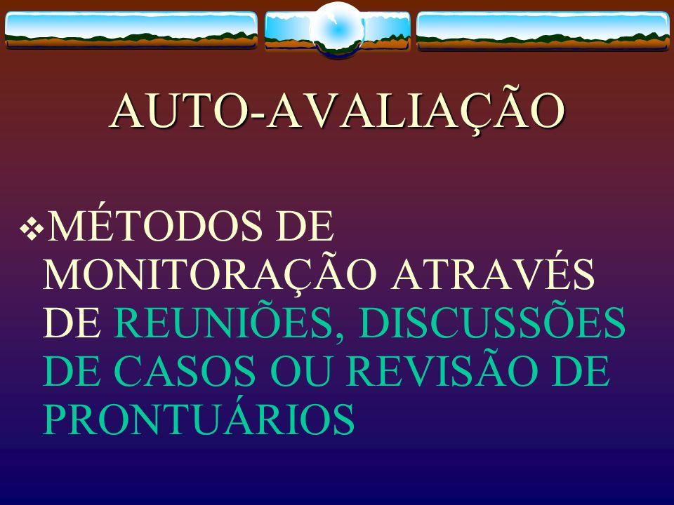 AUTO-AVALIAÇÃO MÉTODOS DE MONITORAÇÃO ATRAVÉS DE REUNIÕES, DISCUSSÕES DE CASOS OU REVISÃO DE PRONTUÁRIOS
