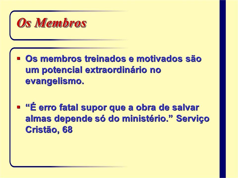 Os Membros Os membros treinados e motivados são um potencial extraordinário no evangelismo. É erro fatal supor que a obra de salvar almas depende só d