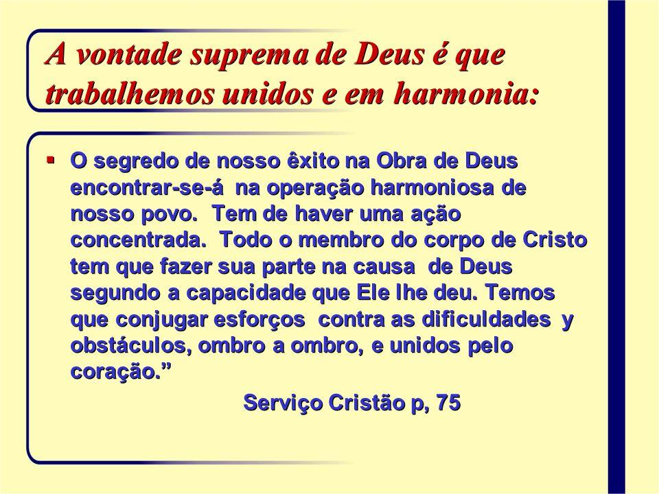 A vontade suprema de Deus é que trabalhemos unidos e em harmonia: O segredo de nosso êxito na Obra de Deus encontrar-se-á na operação harmoniosa de no