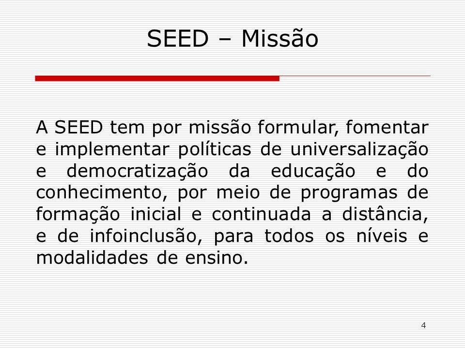 4 SEED – Missão A SEED tem por missão formular, fomentar e implementar políticas de universalização e democratização da educação e do conhecimento, por meio de programas de formação inicial e continuada a distância, e de infoinclusão, para todos os níveis e modalidades de ensino.