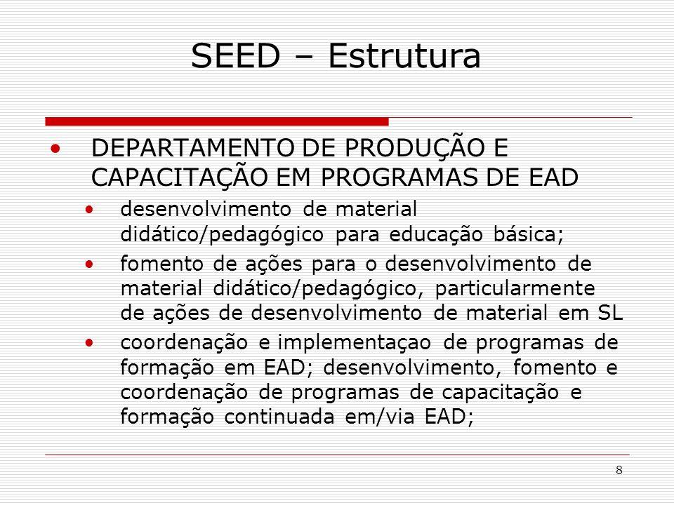 8 DEPARTAMENTO DE PRODUÇÃO E CAPACITAÇÃO EM PROGRAMAS DE EAD desenvolvimento de material didático/pedagógico para educação básica; fomento de ações para o desenvolvimento de material didático/pedagógico, particularmente de ações de desenvolvimento de material em SL coordenação e implementaçao de programas de formação em EAD; desenvolvimento, fomento e coordenação de programas de capacitação e formação continuada em/via EAD; SEED – Estrutura