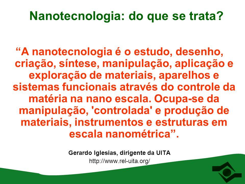 Nanotecnologia: do que se trata? A nanotecnologia é o estudo, desenho, criação, síntese, manipulação, aplicação e exploração de materiais, aparelhos e