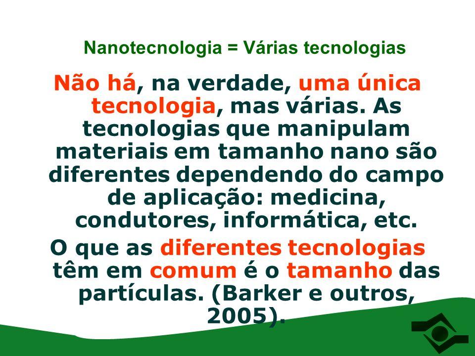 Nanotecnologia = Várias tecnologias Não há, na verdade, uma única tecnologia, mas várias. As tecnologias que manipulam materiais em tamanho nano são d