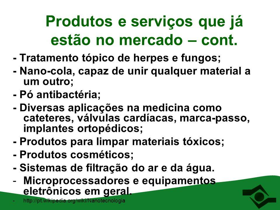 Produtos e serviços que já estão no mercado – cont. - Tratamento tópico de herpes e fungos; - Nano-cola, capaz de unir qualquer material a um outro; -