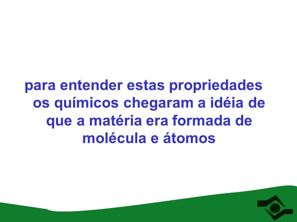 para entender estas propriedades os químicos chegaram a idéia de que a matéria era formada de molécula e átomos