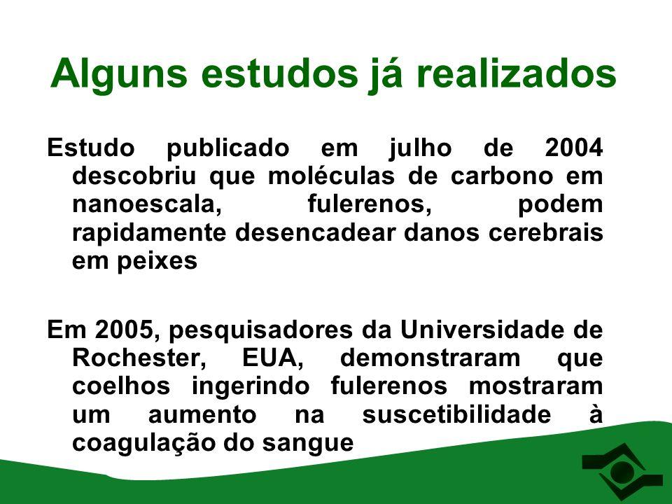 Alguns estudos já realizados Estudo publicado em julho de 2004 descobriu que moléculas de carbono em nanoescala, fulerenos, podem rapidamente desencad