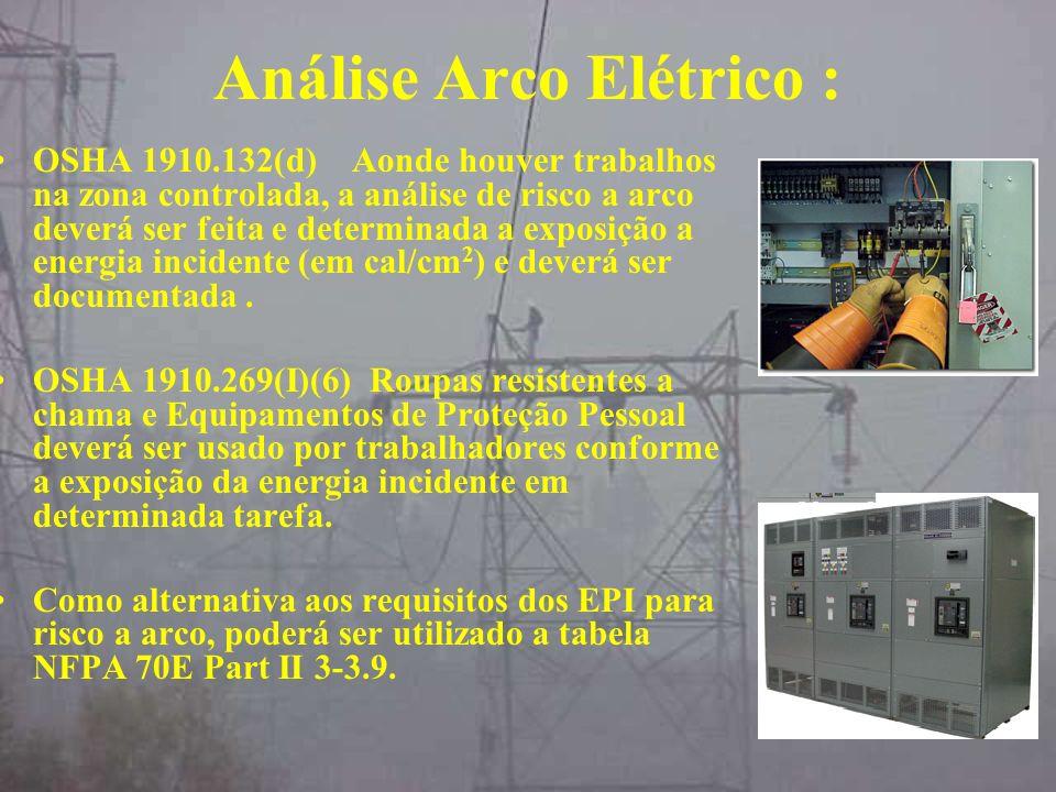 Análise Arco Elétrico : OSHA 1910.132(d) Aonde houver trabalhos na zona controlada, a análise de risco a arco deverá ser feita e determinada a exposiç