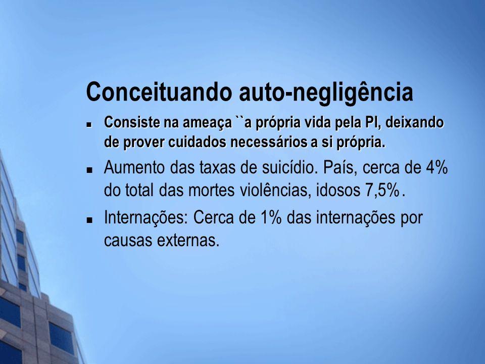 Conceituando auto-negligência Consiste na ameaça ``a própria vida pela PI, deixando de prover cuidados necessários a si própria. Consiste na ameaça ``