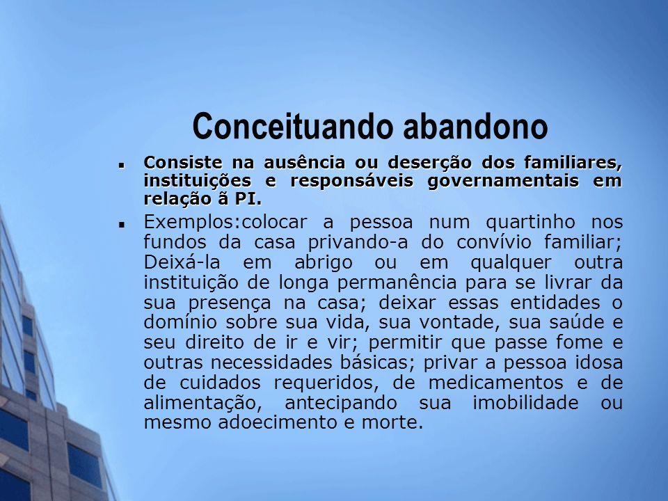Conceituando abandono Consiste na ausência ou deserção dos familiares, instituições e responsáveis governamentais em relação ã PI. Consiste na ausênci