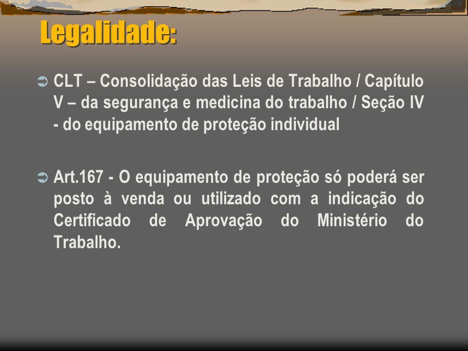Legalidade: CLT – Consolidação das Leis de Trabalho / Capítulo V – da segurança e medicina do trabalho / Seção IV - do equipamento de proteção individ