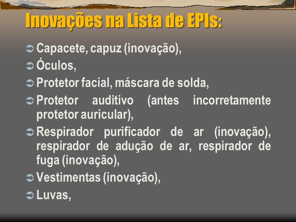 Inovações na Lista de EPIs: Capacete, capuz (inovação), Óculos, Protetor facial, máscara de solda, Protetor auditivo (antes incorretamente protetor au