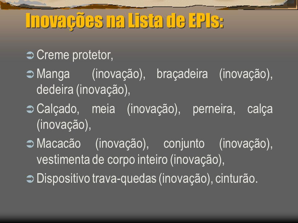 Inovações na Lista de EPIs: Creme protetor, Manga (inovação), braçadeira (inovação), dedeira (inovação), Calçado, meia (inovação), perneira, calça (in