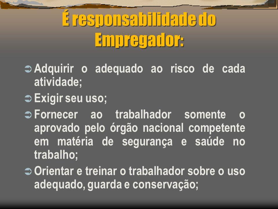 É responsabilidade do Empregador: Adquirir o adequado ao risco de cada atividade; Exigir seu uso; Fornecer ao trabalhador somente o aprovado pelo órgã