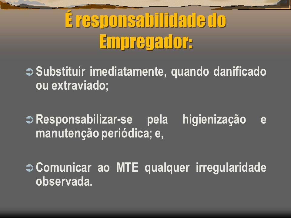 É responsabilidade do Empregador: Substituir imediatamente, quando danificado ou extraviado; Responsabilizar-se pela higienização e manutenção periódi