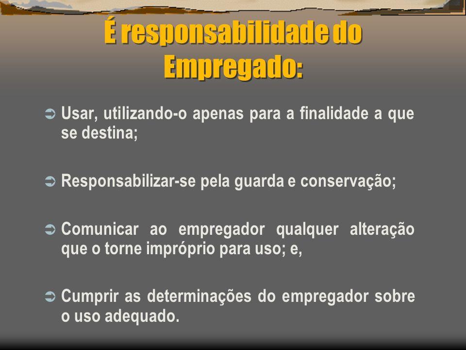 É responsabilidade do Empregado: Usar, utilizando-o apenas para a finalidade a que se destina; Responsabilizar-se pela guarda e conservação; Comunicar