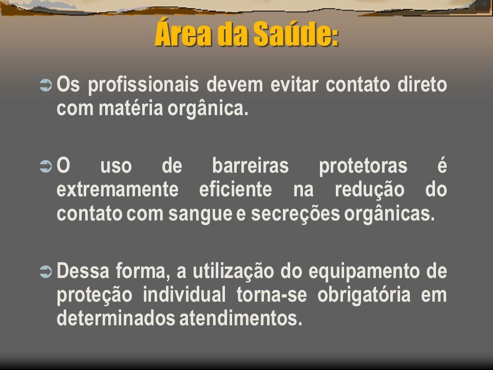 Área da Saúde: Os profissionais devem evitar contato direto com matéria orgânica. O uso de barreiras protetoras é extremamente eficiente na redução do