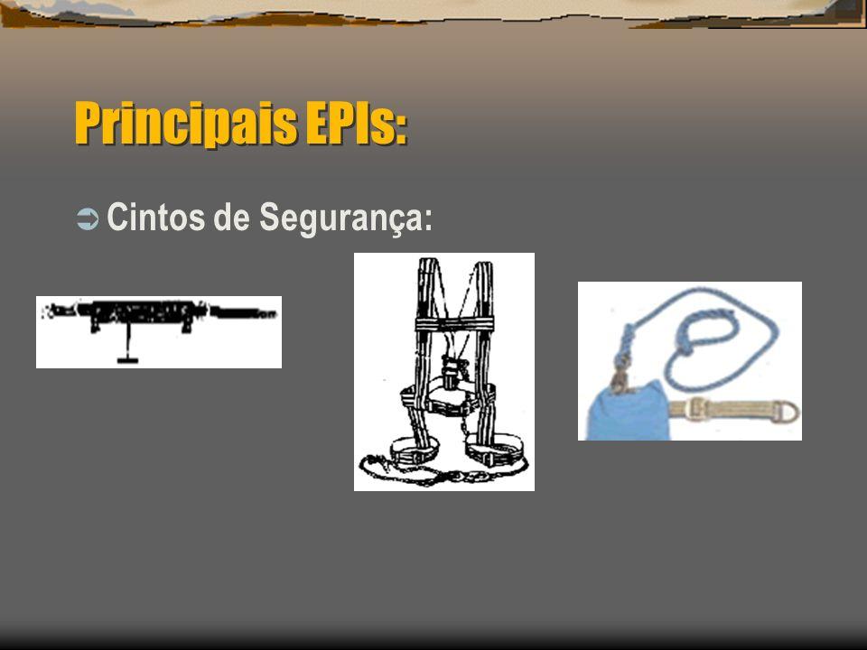 Principais EPIs: Cintos de Segurança: