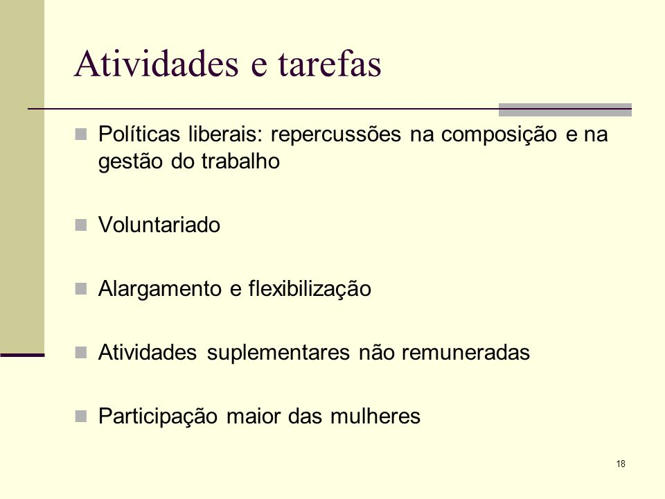 18 Atividades e tarefas Políticas liberais: repercussões na composição e na gestão do trabalho Voluntariado Alargamento e flexibilização Atividades su