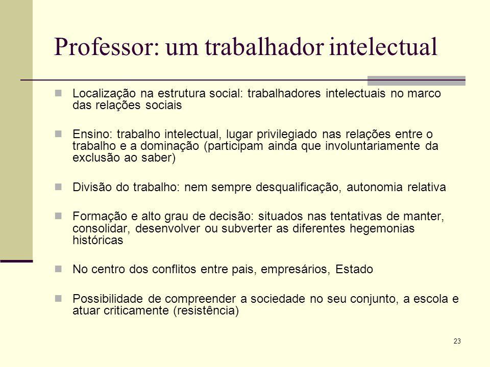 23 Professor: um trabalhador intelectual Localização na estrutura social: trabalhadores intelectuais no marco das relações sociais Ensino: trabalho in