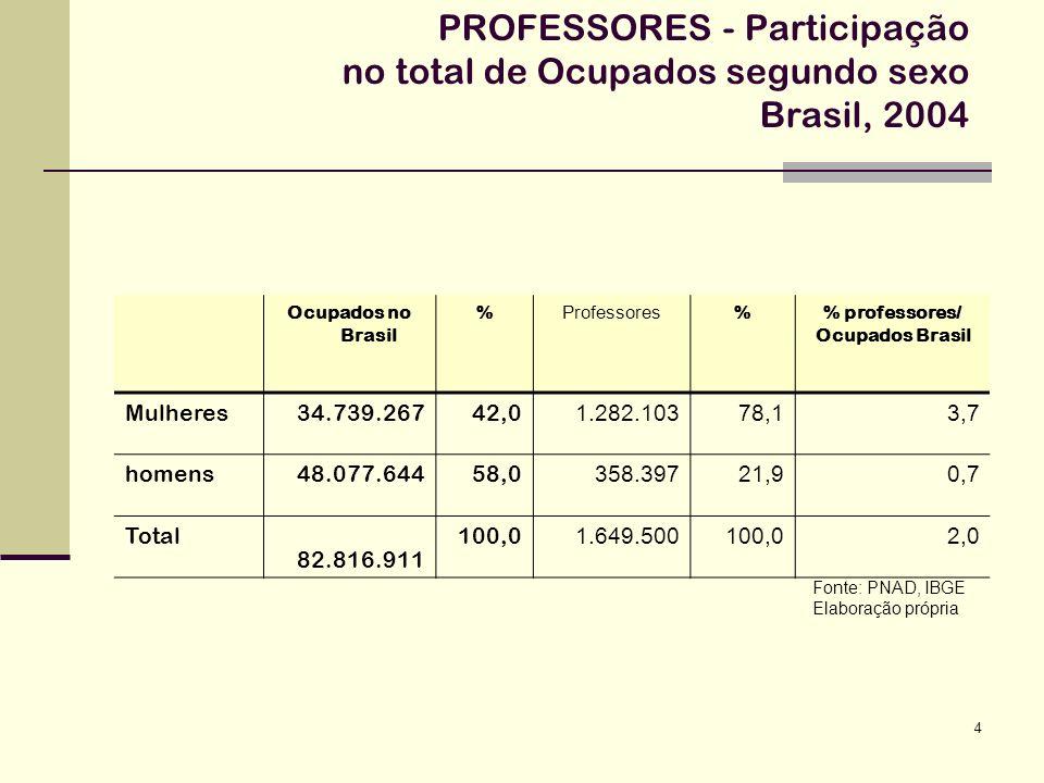 15 PROFESSORES -distribuição dos Ocupados por nível ou modalidade de ensino e sexo - Brasil - 2004 Fonte: PNAD, IBGE Elaboração própria SexoTotal MasculinoFeminino Educação Infantil2,697,4100,0 1a./4a.