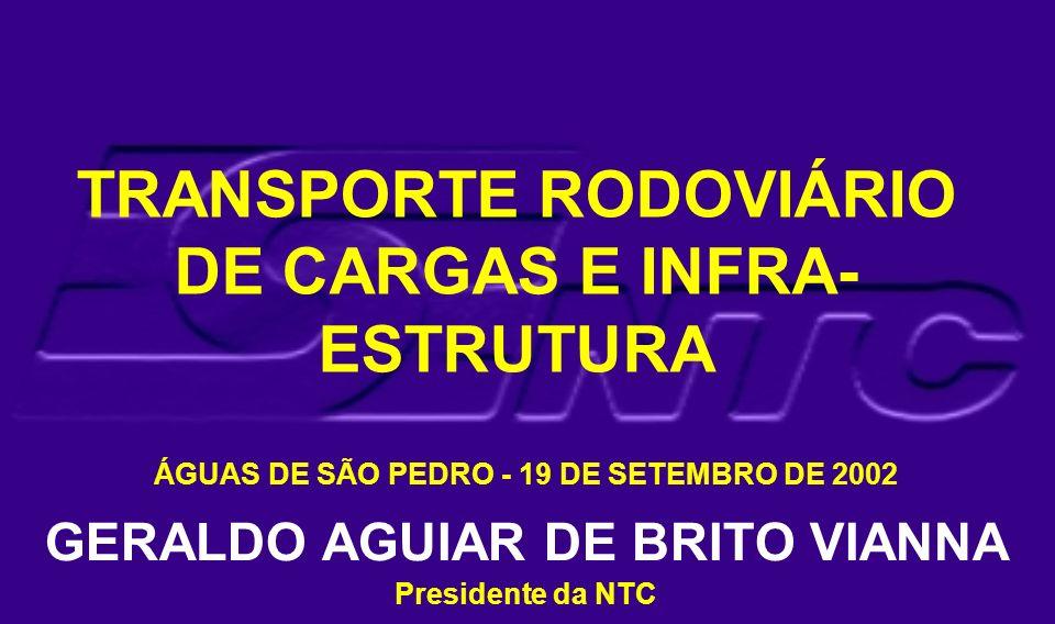 TRANSPORTE RODOVIÁRIO DE CARGAS E INFRA- ESTRUTURA ÁGUAS DE SÃO PEDRO - 19 DE SETEMBRO DE 2002 GERALDO AGUIAR DE BRITO VIANNA Presidente da NTC