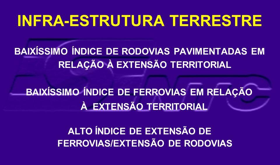 BAIXÍSSIMO ÍNDICE DE RODOVIAS PAVIMENTADAS EM RELAÇÃO À EXTENSÃO TERRITORIAL BAIXÍSSIMO ÍNDICE DE FERROVIAS EM RELAÇÃO À EXTENSÃO TERRITORIAL ALTO ÍND