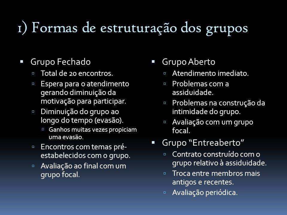 1) Formas de estruturação dos grupos Grupo Fechado Total de 20 encontros. Espera para o atendimento gerando diminuição da motivação para participar. D