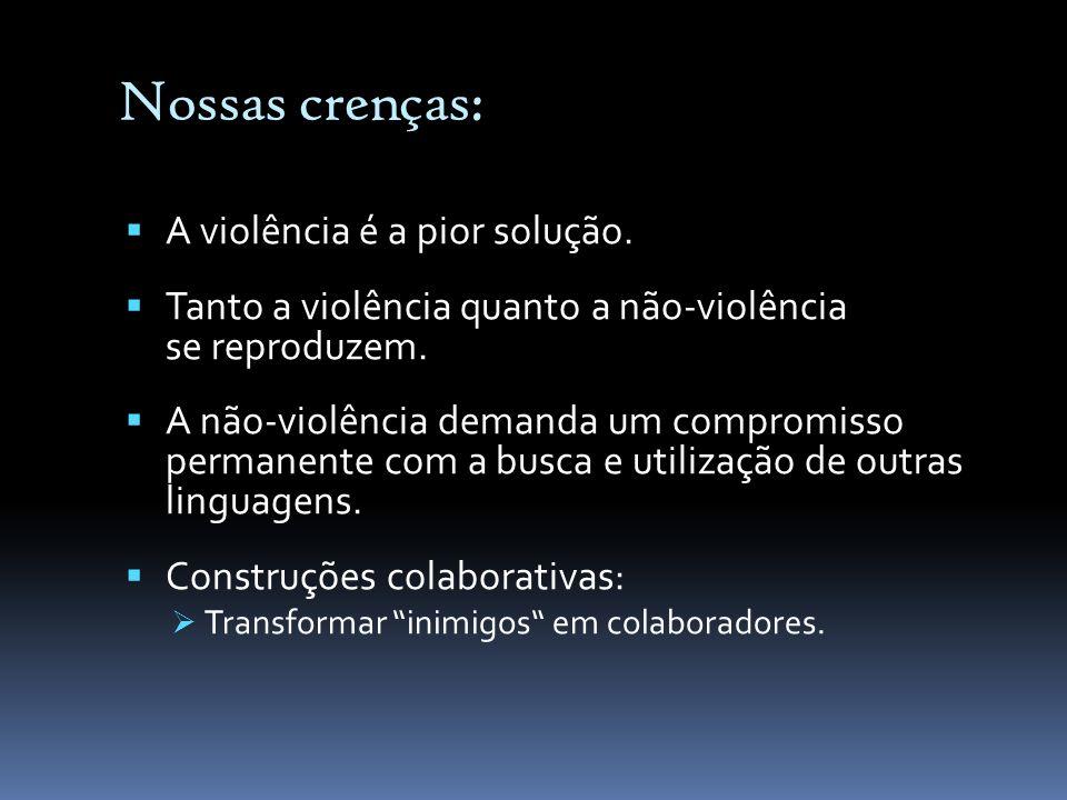 Nossas crenças: A violência é a pior solução. Tanto a violência quanto a não-violência se reproduzem. A não-violência demanda um compromisso permanent