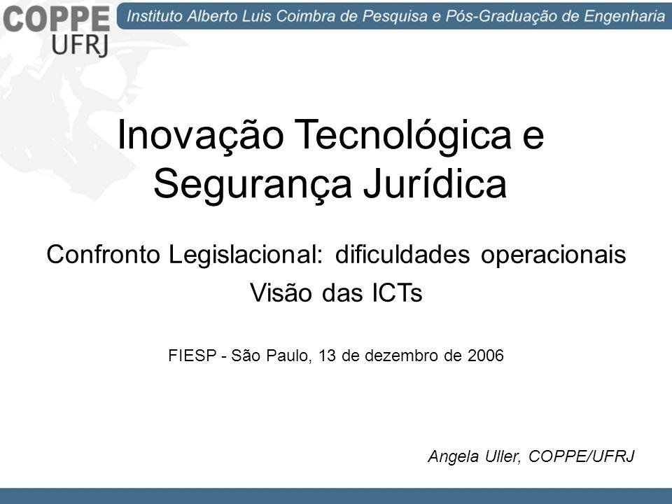 Inovação Tecnológica e Segurança Jurídica Confronto Legislacional: dificuldades operacionais Visão das ICTs FIESP - São Paulo, 13 de dezembro de 2006