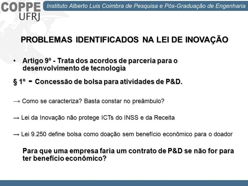 PROBLEMAS IDENTIFICADOS NA LEI DE INOVAÇÃO Artigo 9º - Trata dos acordos de parceria para o desenvolvimento de tecnologiaArtigo 9º - Trata dos acordos