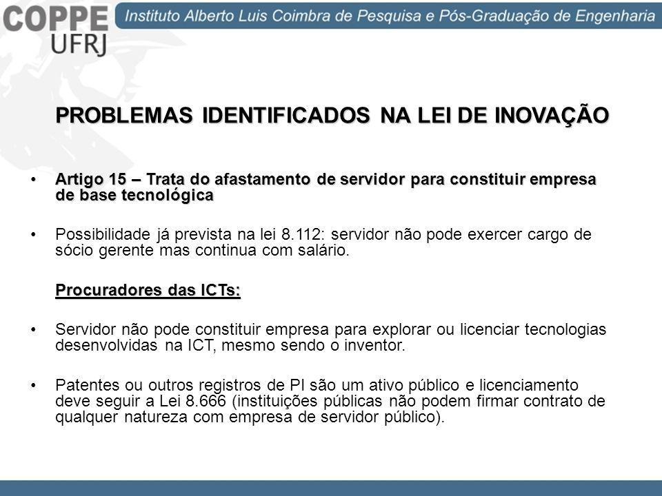 PROBLEMAS IDENTIFICADOS NA LEI DE INOVAÇÃO Artigo 15 – Trata do afastamento de servidor para constituir empresa de base tecnológicaArtigo 15 – Trata d