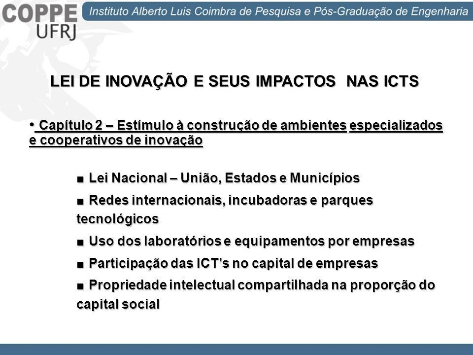 LEI DE INOVAÇÃO E SEUS IMPACTOS NAS ICTS Capítulo 3 – Estímulo à participação das ICT no processo de inovação Capítulo 3 – Estímulo à participação das ICT no processo de inovação Flexibilização das ICT para Contratos de Transferência de Tecnologia e Prestação de Serviços Licenciamento com Exclusividade ou Não Remuneração para o Inventor Remuneração do Servidor na forma de Bolsa de Estímulo à Inovação em Atividades de P&D por Instituição de Apoio e Agência de Fomento Titularidade das Criações nos Contratos de P&D Licença de Afastamento ao Servidor para outra ICT ou para Constituir Empresa Criação do NIT