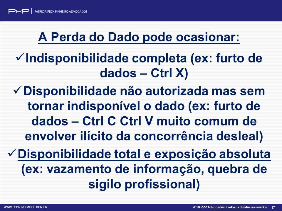 2010 PPP Advogados. Todos os direitos reservados. WWW.PPPADVOGADOS.COM.BR 17 A Perda do Dado pode ocasionar: Indisponibilidade completa (ex: furto de