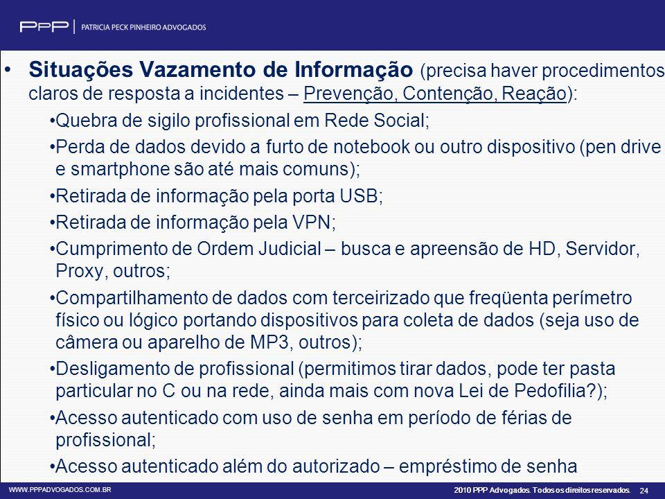 2010 PPP Advogados. Todos os direitos reservados. WWW.PPPADVOGADOS.COM.BR 24 Situações Vazamento de Informação (precisa haver procedimentos claros de