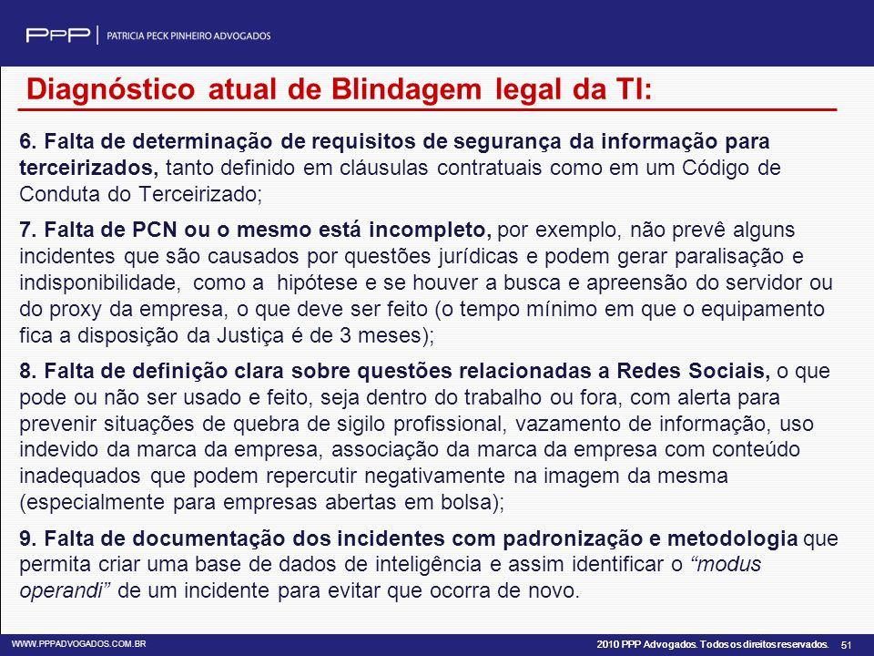 2010 PPP Advogados. Todos os direitos reservados. WWW.PPPADVOGADOS.COM.BR 51 6. Falta de determinação de requisitos de segurança da informação para te