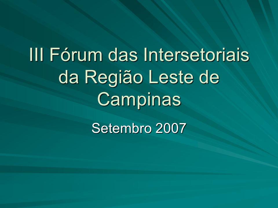 III Fórum das Intersetoriais da Região Leste de Campinas Setembro 2007
