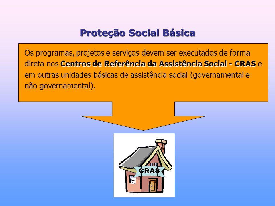 Centros de Referência da Assistência Social - CRAS Os programas, projetos e serviços devem ser executados de forma direta nos Centros de Referência da Assistência Social - CRAS e em outras unidades básicas de assistência social (governamental e não governamental).