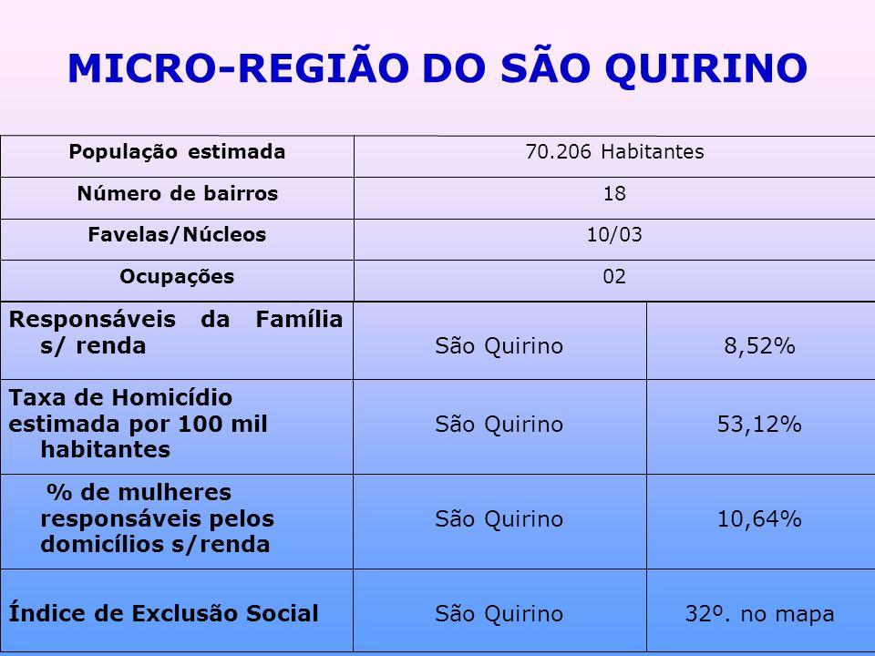 MICRO-REGIÃO DO SÃO QUIRINO 02Ocupações 10/03Favelas/Núcleos 18Número de bairros 70.206 HabitantesPopulação estimada 32º.
