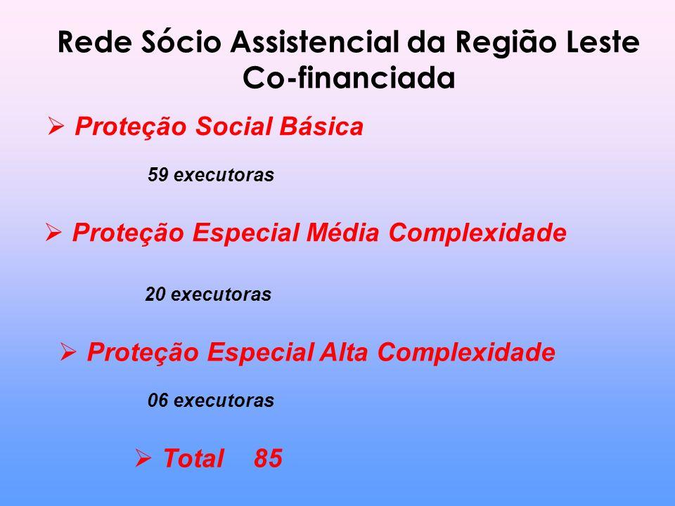 Rede Sócio Assistencial da Região Leste Co-financiada Proteção Social Básica 59 executoras Proteção Especial Média Complexidade 20 executoras Proteção Especial Alta Complexidade 06 executoras Total 85