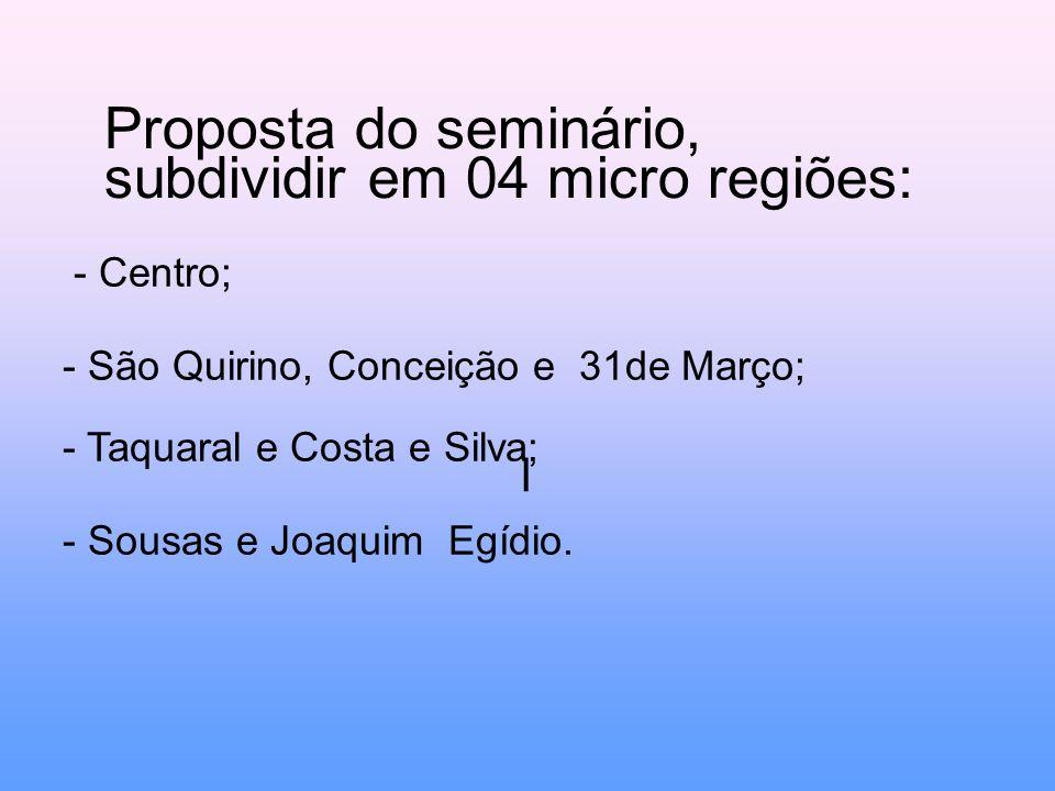 Proposta do seminário, subdividir em 04 micro regiões: l - Centro; - São Quirino, Conceição e 31de Março; - Taquaral e Costa e Silva; - Sousas e Joaquim Egídio.