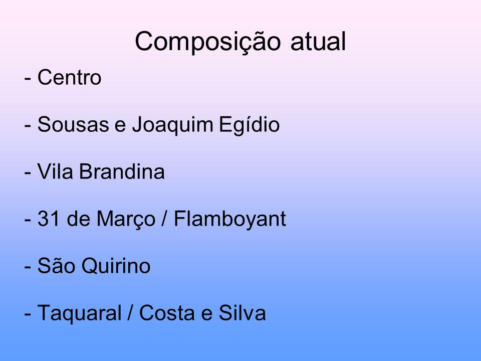 Composição atual - Centro - Sousas e Joaquim Egídio - Vila Brandina - 31 de Março / Flamboyant - São Quirino - Taquaral / Costa e Silva