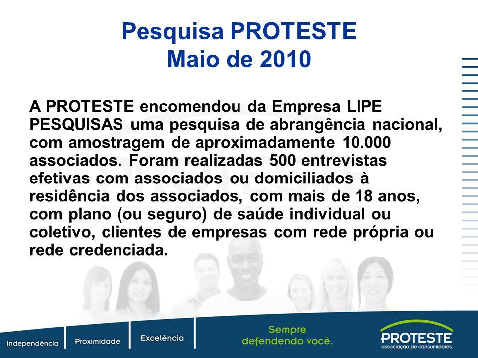 Pesquisa PROTESTE Maio de 2010 A PROTESTE encomendou da Empresa LIPE PESQUISAS uma pesquisa de abrangência nacional, com amostragem de aproximadamente