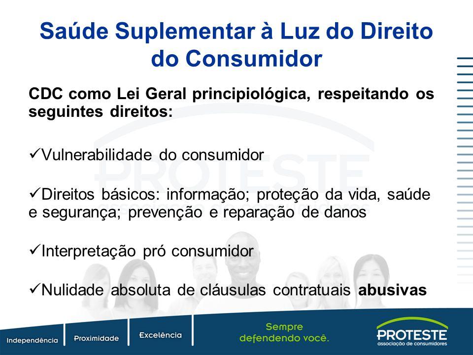 Saúde Suplementar à Luz do Direito do Consumidor CDC como Lei Geral principiológica, respeitando os seguintes direitos: Vulnerabilidade do consumidor