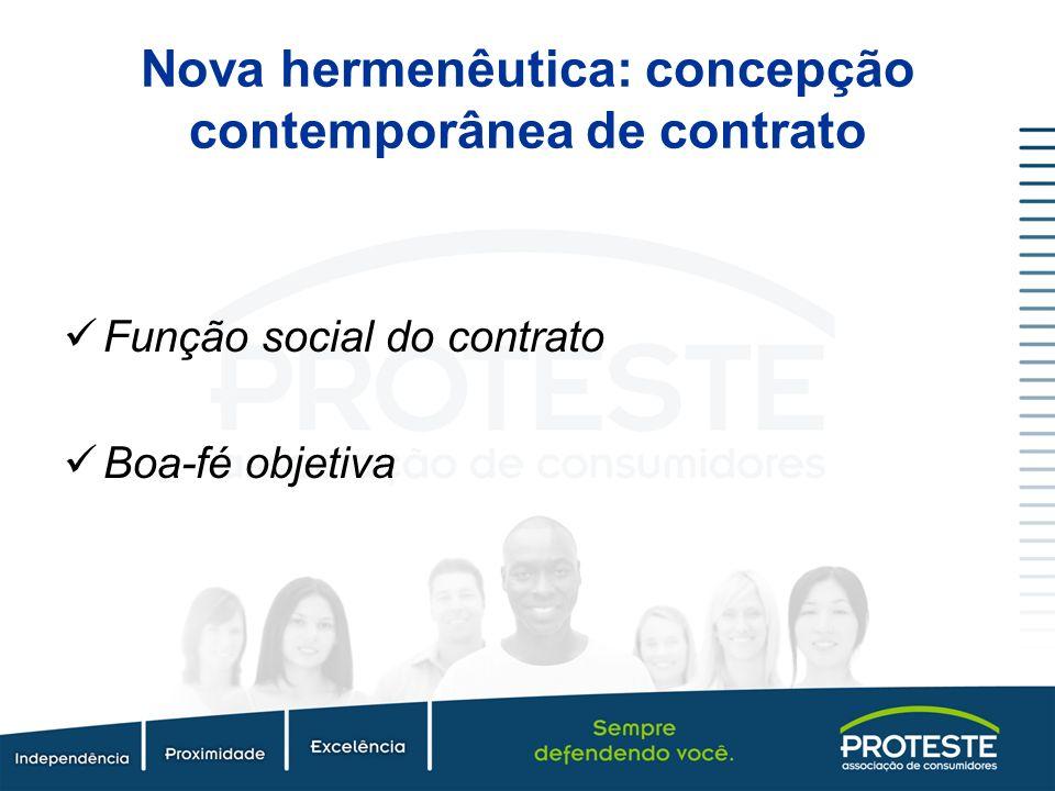 Nova hermenêutica: concepção contemporânea de contrato Função social do contrato Boa-fé objetiva