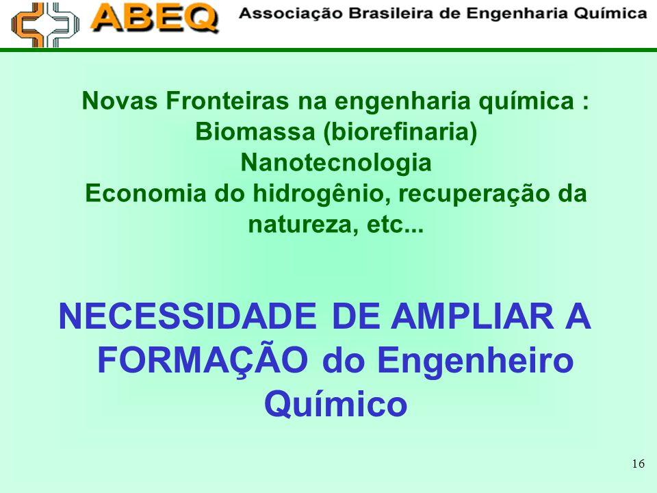 16 Novas Fronteiras na engenharia química : Biomassa (biorefinaria) Nanotecnologia Economia do hidrogênio, recuperação da natureza, etc... NECESSIDADE