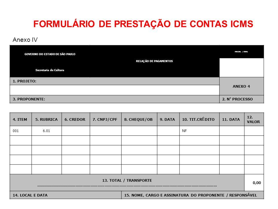 GOVERNO DO ESTADO DE SÃO PAULO RELA Ç ÃO DE PAGAMENTOS PARCIAL / FINAL Secretaria de Cultura 1. PROJETO: ANEXO 4 3. PROPONENTE: 2. N º PROCESSO 4. ITE